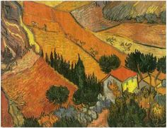 Valley with Ploughman Seen from Above  Painting, Oil on Canvas  Saint-Rémy: December, 1889  Hermitage Museum  St. Petersburg, Russia