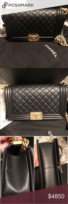 5d1586419a Chanel medium boy Chanel old medium boy bag Caviar in black and gold  hardware Gently used
