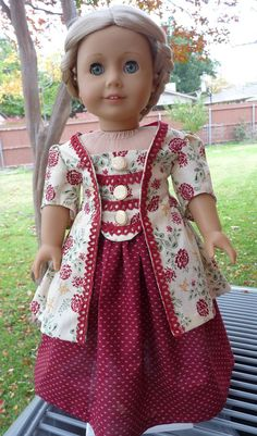 "18"" Doll Clothes Colonial Era Sacque Back Caraco Jacket For Christmas Fits American Girl Caroline, Felicity, Elizabeth"