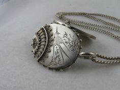 Stunning Antique Victorian Aesthetic Silver 'Fan' Locket & Chain Set from blackwicks on Ruby Lane