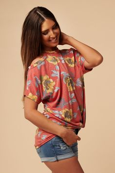 2fd6c6f9ac8 Not Bitter Floral Cold Shoulder Top (Dusty Coral)