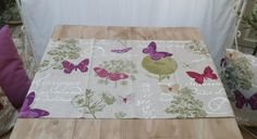 Runner in linen with butterflies violet green beige di BiancospinoPillowsCo su Etsy