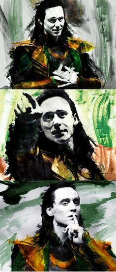 "Tom Hiddleston ""Loki"" Fan art from http://lokimydear.tumblr.com/post/75509785250/loki-month-favorite-loki-loki-comic-con-2013"