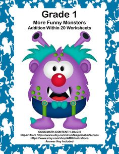 No Prep First Grade Math Worksheets. Are you looking for fun timely practice that targets the important skill of building fluency in addition within 20? This package is 14 pages of math worksheets with more funny monsters theme. Its simple subtraction within 20 with six pages of practice and an answer key.