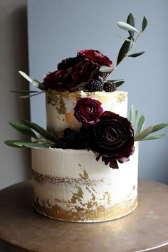 Luxe Gold and Burgundy Wedding Cake by Yolk www.cakesbyyolk.com