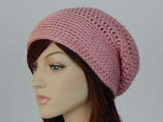Pale Pink Slouch Hat, Pink Crochet Hat, Light Pink Slouchy Beanie, Womens And Teens Slouchy Hat, Mod Slouch, Boho Hat, MarlowsGiftCottage by MarlowsGiftCottage on Etsy