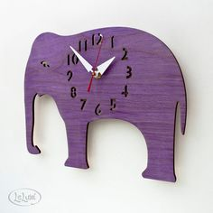 The Great Grape Elephant designer wall mounted clock by LeLuni