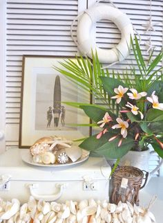 something i love about summer is the variety of frangipanis (plumeria) i see all around sydney. all shades of pink, coral, red, yellow and w. Beach Cottage Decor, Coastal Cottage, Coastal Decor, Coastal Living, Goin Coastal, Painted Suitcase, Happy Flowers, Beautiful Flowers, Driftwood Beach