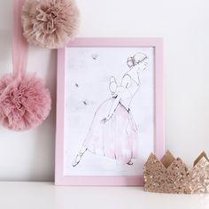 Whimsical fairy ballerina wall print for little girl's bedroom or nursery