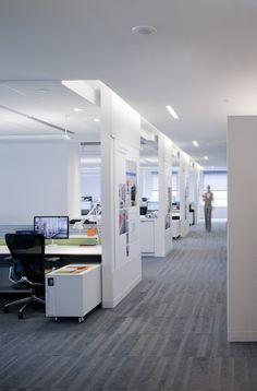 Great lighting and walls add privacy to the workspace