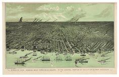 BirdsEye View of Detroit Michigan by alternatehistories on Etsy, $20.00