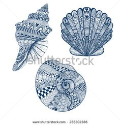 Zentangle stylized set blue seashells. Hand Drawn vector illustration isolated on white backgrounds. Sketch for tattoo or makhenda. Seashell collection. Ocean life. - stock vector