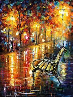 stunning.  leonid afremov. Perfect for the colors I want for down stairs.