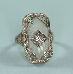 Vintage Rings Art Deco 14K White Gold Camphor Glass Diamond Ring Signed – unique jewelry