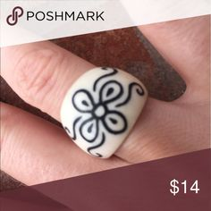 White hand painted flower motif ring Handmade in bali from lightweight white ring hand painted hibiscus flower ring adds a gorgeous beach girl look to this Summers wardrobe! handmade  Jewelry Rings
