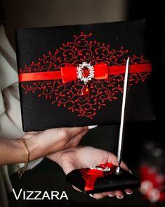 Red Wedding Gowns, Black Tie Wedding, Wedding Garter Set, Wedding Sets, Wedding Things, Card Box Wedding, Wedding Guest Book, Wedding Glasses, Flower Girl Basket