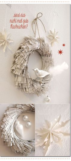 Fringed paper wreath : book pages