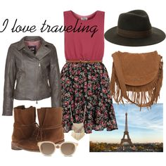 brown leather jacket, floral print, leather boots, travel, Paris