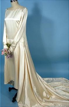 c. 1923 Wedding Gown of Ivory Silk Satin with Long Train