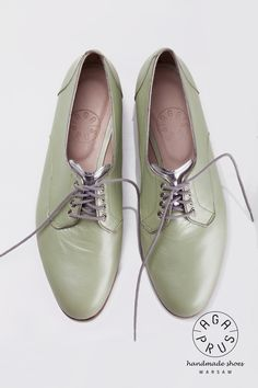handmade Polish shoes by Aga Prus Derby Shoes, Aga, Oxford Shoes, Mint, Pearls, My Style, Showroom, Women, Polish