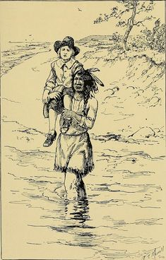 Squanto returning John Billington after he became lost in the woods, illustration published in the children's book Good Stories for Great Birthdays circa 1922