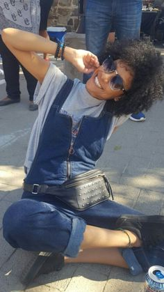 Dungarees can look cute too #fashion #dungaree #blue #naturalhair #vans #style