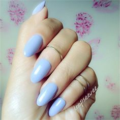 Pinterest: Loopsee Vee Almond shaped nails Nyx nail polish. Pale purple blue tone.