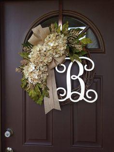 Monogram wreath - Year Round Wreath - All Season Wreath - Hydrangea Wreath - Grapevine Wreath with Initial - Front Door Decor - Porch Decor Front Door Initial, Front Door Decor, Wreaths For Front Door, Door Wreaths, Front Porch, Front Doors, Entryway Decor, Monogram Wreath, Diy Wreath