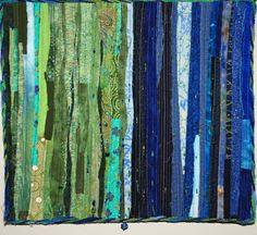 Blue and Green Fiber Art Quilt Wall Hanging by ForComfortQuilts, $195.00