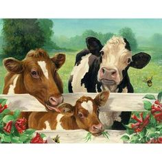 Diamond Drawing, 5d Diamond Painting, Mosaic Pictures, Canvas Pictures, Arte Country, Farm Art, Cow Painting, Cow Art, Cute Cows