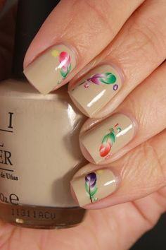 grape fizz nails: Feather Water Decals