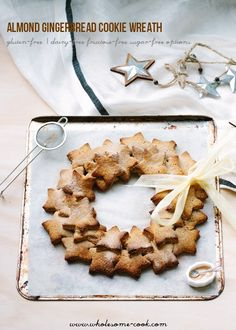 Almond Gingerbread Cookie Wreath | So quick to make, low sugar and gluten-free dairy-free and vegan options too.