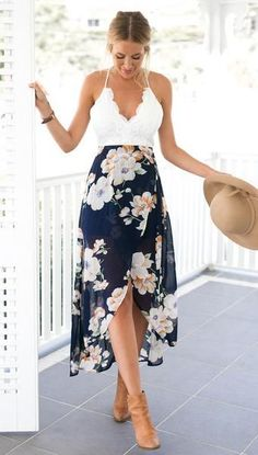 Floral Print Chiffon Dress Patchwork Lace #fashiondressescasual