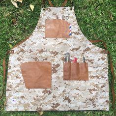 Custom made desert camo barber apron #sartorandvillain #barberapron #barber #barbershop #leather #custommade #handcrafted