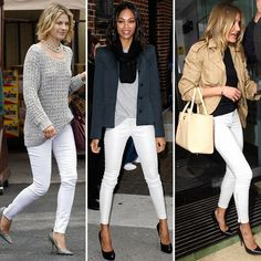 White ankle jeans and pumps are the perfect pairing.