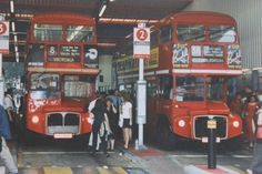 'Routemaster' buses at Victoria Bus Station Blue Bus, Red Bus, Bus Stop Design, Routemaster, Double Decker Bus, Bus Coach, London Bus, London Transport, Bus Station