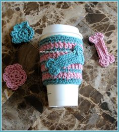 Coffee Cozi With Dog bone and Paw Print Appliques Crochet Pattern Skill : Easy Materials : Hook : G & F Any Wor...