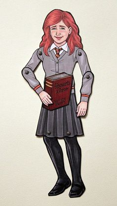 Hermione Granger and Crookshanks Articulated Paper Doll - Harry Potter Inspired