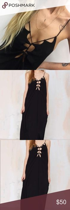 Nasty Gal Cut Out Black Maxi Dress Nasty gal black Cutout Maxi dress! Size small! 🚫NO TRADES🚫 Nasty Gal Dresses Maxi