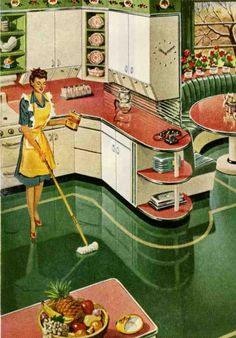 """Vintage Kitchen Ad 1946 for """"Glo-Coat"""" Floor Wax. My mom believed in keeping the floor waxed.  When my dad got home from work, she would always ask if he could see anything different.  Of course his answer was """"no"""".  She was so disappointed that he didn't notice the newly waxed floor."""
