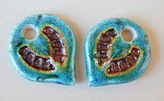 "Porcelain Earrings "" turquoise and metallic "" By Mª Carmen Rodriguez . https://www.facebook.com/groups/CeramicArtBeadMarket"