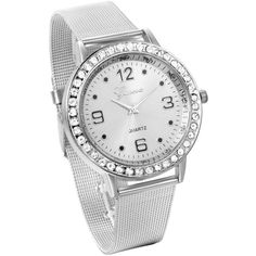 JewelryWe Mothers Day Gifts Women's Fashion Silver Tone Stainless... ($5.59) ❤ liked on Polyvore featuring jewelry, watches, stainless steel jewellery, silvertone jewelry, quartz wrist watch, analog watches and quartz watches