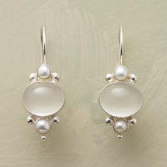 "MOONLIT PEARL EARRINGS--Moonstone's tender glow illuminates cultured freshwater pearls. Handmade. Sterling silver lever backs. 1-1/8""L."
