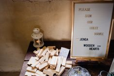 Jenga Guest Book Cowshed Woodhall Farm Wedding Emma and Rich #Jenga #GuestBook #Wedding