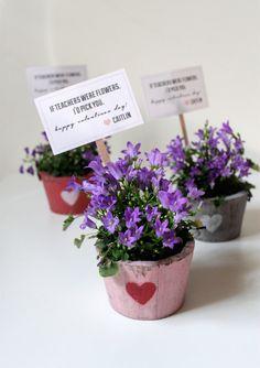 free printable | valentines teacher flower tags.