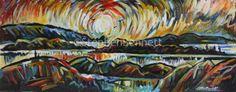 Rosbeg by Stephen Bennett. Original painting, acrylic on board Irish Landscape, Irish Art, Donegal, Figure Painting, Original Paintings, Art Gallery, The Originals, Board, Artist