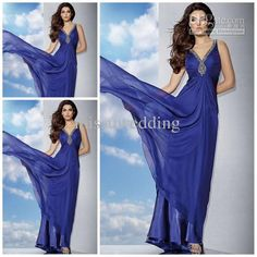 Wholesale Hot sale V neck A line full length chiffon crystal prom gowns backless royal evening dresses long pageant dress party dress casual plus size, Free shipping, $106.4-123.2/Piece | DHgate