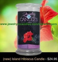 "Newly released Island Hibiscus scent! 100% natural soy. Lasts 100-150 hours. There's jewelry in all our scented products, worth $10-7500! Get yours today! To see all the products and scents we have to offer, simply go to www.jewelryincandles.com/store/krogers And enter coupon code ""pinterest"" for 20% off your order."