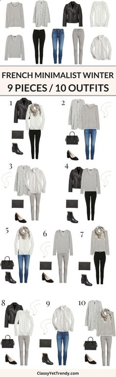 Combine Jewelry With Clothing - 9 Pieces / 10 Outfits (French Minimalist Winter) - Turn 9 tops and bottoms into 10 outfits, French Minimalist style! Basic essentials are an important to a wardrobe as they can easily mix and match with one another. Featured pieces are a tee, sweater, cardigans, shirts, leather jackets, blue jeans, black jeans, gray jeans, boots, pumps, handbag, clutch and scarf. - The jewels are essential to finish our looks. Discover the best tricks to combine jewelry ...
