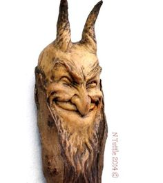 """ORIGINAL-WOOD-SPIRIT-SATYR-CARVING-FAUN-PAN-TROLL-MYTHIC-DEMON-OOAK-NANCY-TUTTLE """"Charmed by His Smile"""" 12¼ inches tall and 2½ inches at his widest point. All carved from a single piece of Oregon driftwood. Signed and dated: N. Tuttle 11/30/14"""